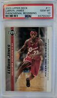 2003 Upper Deck Phenomenal Beginning LeBron James Rookie RC #11, Graded PSA 10