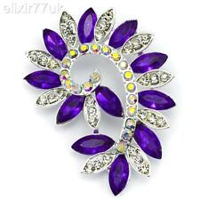 NEW LARGE SILVER FLOWER BROOCH PURPLE DIAMANTE CRYSTAL WEDDING BRIDAL BROACH UK