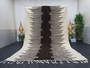 "Moroccan Handmade Kilim Rug 6'3""x10'  Berber Striped White Black Wool Carpet"