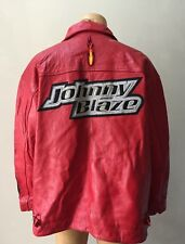 Retro Johnny Blaze Vintage 90s Leather Motorcycle Fire Patch Red Jacket Coat 3Xl