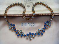 VINTAGE 1960s Two Tone Blue Rhinestone Crystal Geometric Flower Power Necklace