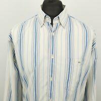 Lacoste Mens Vintage Shirt 44 2XL Long Sleeve Blue Classic Fit Striped Cotton