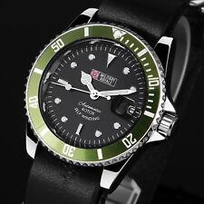 Montre homme analogique Green armée Noire Sport Poignet Cuir Date Automatique