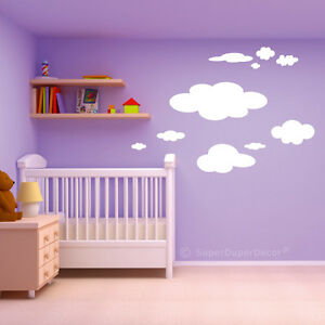 FLUFFY WHITE CLOUDS STICKERS childrens kids cloud bedroom wall cloudy nursery