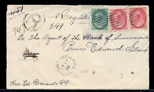 Point Sapin N.B. split ring 1899 to Pei Numeral issue Registered cover Canada