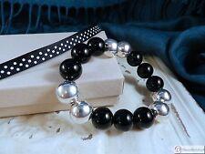 Onyx and Sterling Silver Stretch Bracelet
