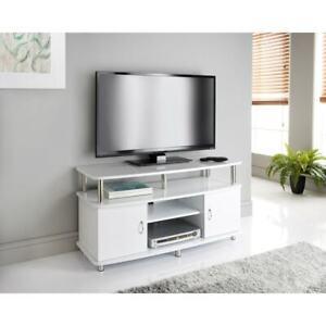 Norsk 105CM Width White TV Stand Matt Cabinet 2 Door Unit Modern High Gloss