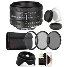 Nikon AF FX NIKKOR 50mm f/1.8D Lens for Nikon DSLR Cameras with Accessory Kit