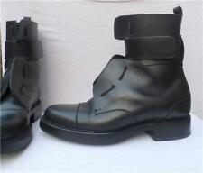 PIERRE HARDY COMBAT BOOTS LEATHER MENS MILITARY STRAPS BLACK Size 40 US 7.5