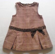 "Gymboree ""Girl Detective"" Brown Plaid Pleated Jumper Dress, 6-12 mos."