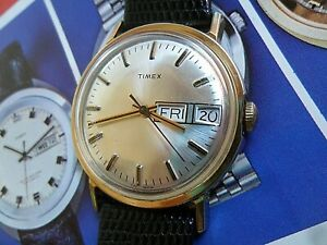 Clean Vintage Men's 1970's Timex Day Date Taiwan Mechanical Watch Runs