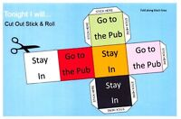 Postcard and Cut Out & Stick Comic Fun Funny Dice Rolling Game, Pub, Stay In 17G
