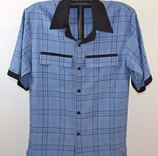 Smokey Joe's Button Front Mens Short Sleeve Shirt Blue/Black Plaid NWOT Medium