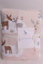 Pottery Barn Kids Winter Reindeer Flannel FQ duvet cover, full queen blush pink