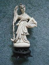"Oriental Figurine Lady with Fish Resin Figurine 9"" Tall Beige Black Base"