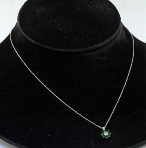 14K white gold 0.58CT VS1/G diamond & emerald cluster flower pendant necklace