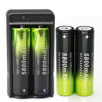 4X 18650 Battery 5800mAh 3.7V Rechargeable Battery 1X Charger For LED Flashlight