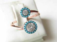 Rose Gold Plated 925 Sterling Silver Turkish Jewelry Turquoise Topaz Ring Sz 8
