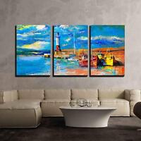 "Wall26 - Original Oil Painting of Lighthouse and Boats - CVS - 24""x36""x3 Panels"