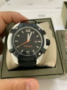 New Timberland Men's Watch Black Leather White Detail Strap Watch TBL13326