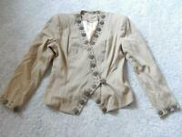 DOUBLE D RANCH WESTERN COWGIRL STUDDED JACKET WITH CONCHOS - LINED - NICE !