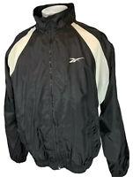 Vintage Reebok Logo Windbreaker Jacket Men's XL Black White Full Zip