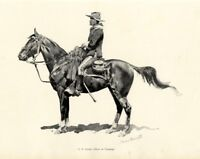 FREDERIC REMINGTON UNITED STATES CAVALRY OFFICER ON CAMPAIGN UNIFORM HORSE REINS