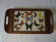Plateau bois marqueterie  Papillons