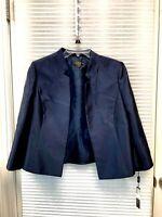 Tahari ASL Luxe Petite Women's Navy Open-Front Blazer Size 10P - NWT