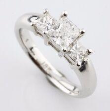 18K White Gold 1.26 carat Princess Cut Diamond 3-Stone Engagement Ring Size 6.5