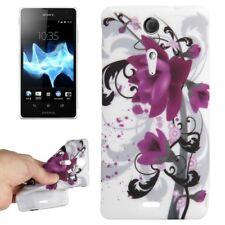 TPU Case für Sony xperia TX Blüte lila schwarz weiß Schutzhülle Schutzcase