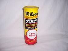 Vtg Wilson Championship 3 Optic Yellow Tennis Balls Sealed Metal Can Made in Usa