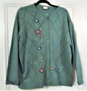 Vintage Ladies Cardigan with Floral print Size UK 24/26