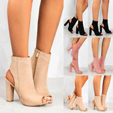 Womens Ladies Chunky Block High Heel Sandals Open Peep Toe Ankle Boots Zip Shoes