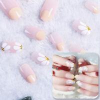 24pcs women's daisy style long manicure art tips false nails tool gift diy RS