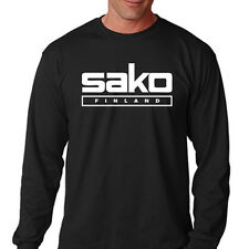 New SAKO FINLAND Logo Shotgun Rifle Men's Long Sleeve Black T-Shirt Size S-3XL
