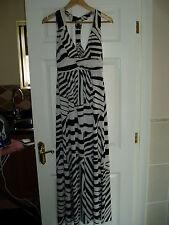 Ladies Size 8 Black & White Striped Padded Maxi Dress