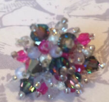 Pink and white handmade cluster ring