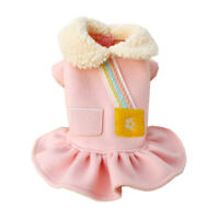 Dog Dress Winter Pink Strap Warm Collar Skirt Small Pet Cat Coat Jumper Apparel
