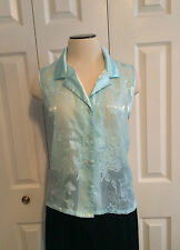 Oscar de la Renta Pink Label Sheer Sleeveless Blue Floral Blouse Size XL