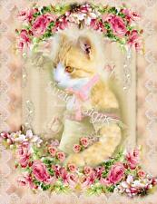 "Whimsy Dust Fabric Block Vintage Cat Kitten Portrait Pink Roses 8.5"" by 5.5"""
