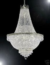 9 LIGHT 24x30 SILVER EMPIRE CRYSTAL CHANDELIER LIVING DINING ROOM FOYER KITCHEN