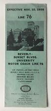 Vintage 1958 La Metropolitan Transit Authority Timetable Line 76 Sunset Blvd bus