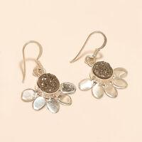 Russian White Titanium druzy Earrings 925 sterling Silver Handmade Fine Jewelry