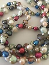 Three Strand Freshwater Pearl Multi Color Necklace