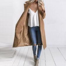 UK Stock Womens Winter Warm Wool Long Coats Parka Jacket Padded Overcoat Plus 26 Khaki 14-16