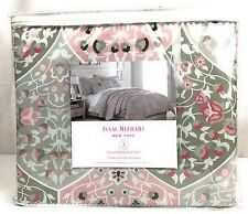 "Isaac Mizrahi Polyester Full/Queen Duvet Cover Set ""Nadia Pink"" Silver Floral Wh"