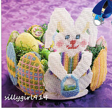 """EASTER EGG BUNNY BASKET & MAGNETS""~Plastic Canvas PATTERN~PATTERN ONLY~SEE PICS"