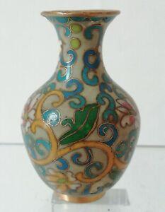 Vase Miniature en Laiton Émaux cloisonné Chinois / Chine pour Poupée H : 5 cm.