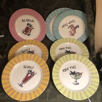 Rosanna Dessert Salad Plates Set of 7 Hawaii Theme